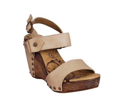 Béžové dámské kožené sandálky na dřevěné platformě DKODE Sanya ... 3f85fb7709