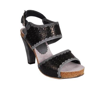 Černé dámské kožené sandálky na podpatku DKODE Therese  2bbdba46f8