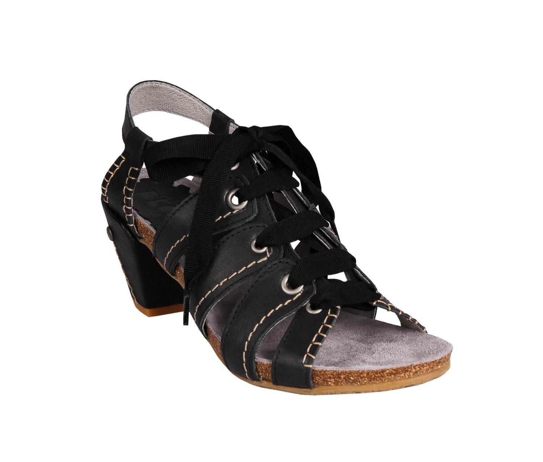 Černé dámské kožené sandálky na podpatku DKODE Naurea  57614cec43